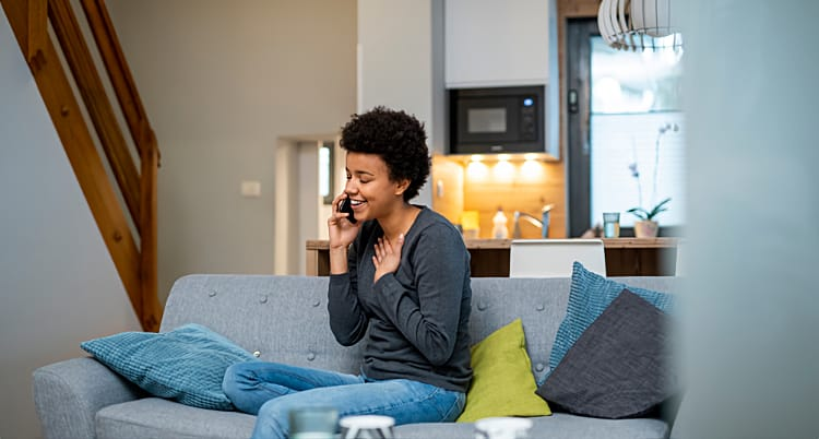 Woman on phone relieved